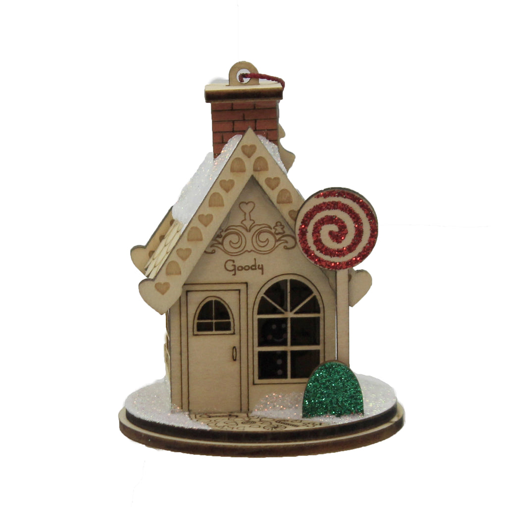 Goody Goody Gum Drop Shop 80015 Ginger Cottages Wood Ornaments - SBKGIFTS.COM - SBK Gifts Christmas Shop Cincinnati - Story Book Kids