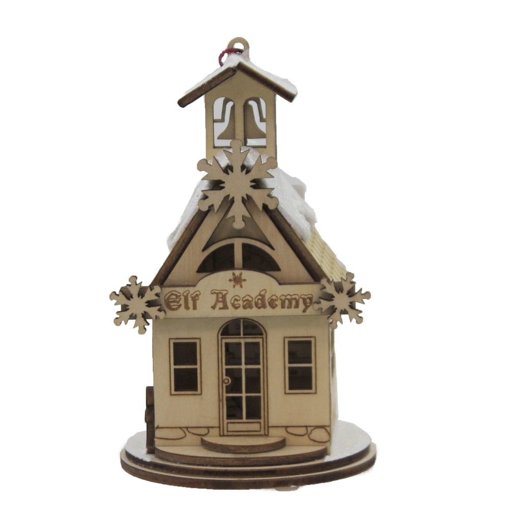Elf Academy One Room School 80019 Ginger Cottages Wood Ornaments - SBKGIFTS.COM - SBK Gifts Christmas Shop Cincinnati - Story Book Kids
