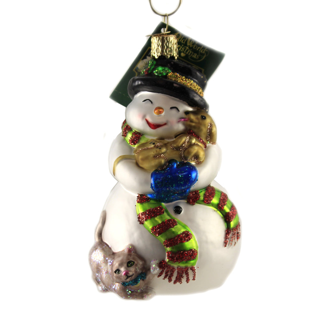 Snowman With Playful Pets 24202 Old World Christmas Glass Ornaments - SBKGIFTS.COM - SBK Gifts Christmas Shop Cincinnati - Story Book Kids