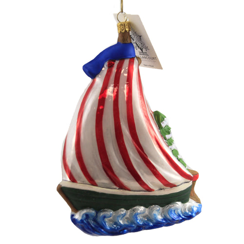 St Nicholas Sailboat Or20503 Vaillancourt Glass Ornaments - SBKGIFTS.COM - SBK Gifts Christmas Shop Cincinnati - Story Book Kids