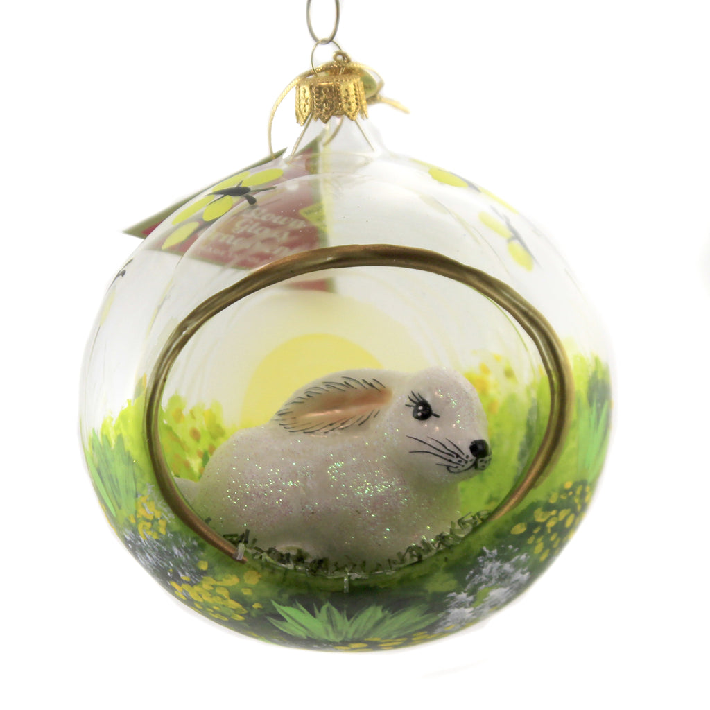 Bunny In Meadon Diorama 17379 Morawski Glass Ornaments - SBKGIFTS.COM - SBK Gifts Christmas Shop Cincinnati - Story Book Kids
