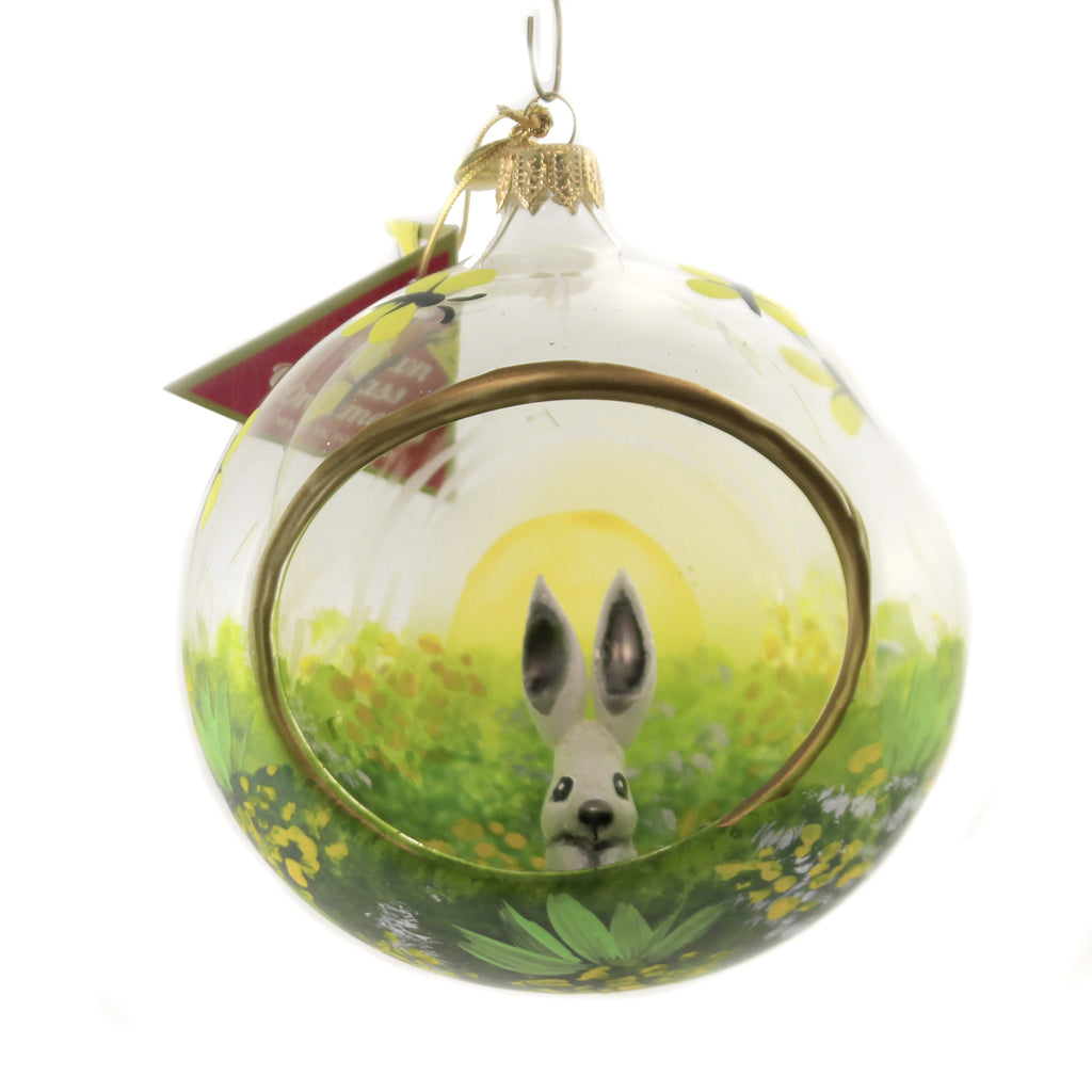 Silver Grey Bunny In Diorama 17731 Morawski Morawski Glass Ornaments - SBKGIFTS.COM - SBK Gifts Christmas Shop Cincinnati - Story Book Kids