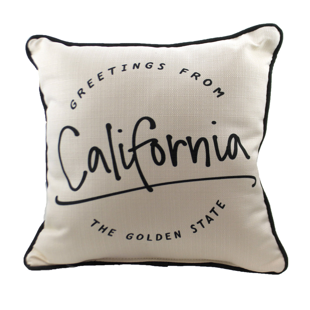 "Greetings From ""State"" Ste0054 California Home Decor Decorative Pillows - SBKGIFTS.COM - SBK Gifts Christmas Shop Cincinnati - Story Book Kids"