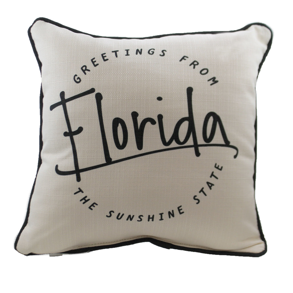 "Greetings From ""State"" Ste0054 Florida Home Decor Decorative Pillows - SBKGIFTS.COM - SBK Gifts Christmas Shop Cincinnati - Story Book Kids"