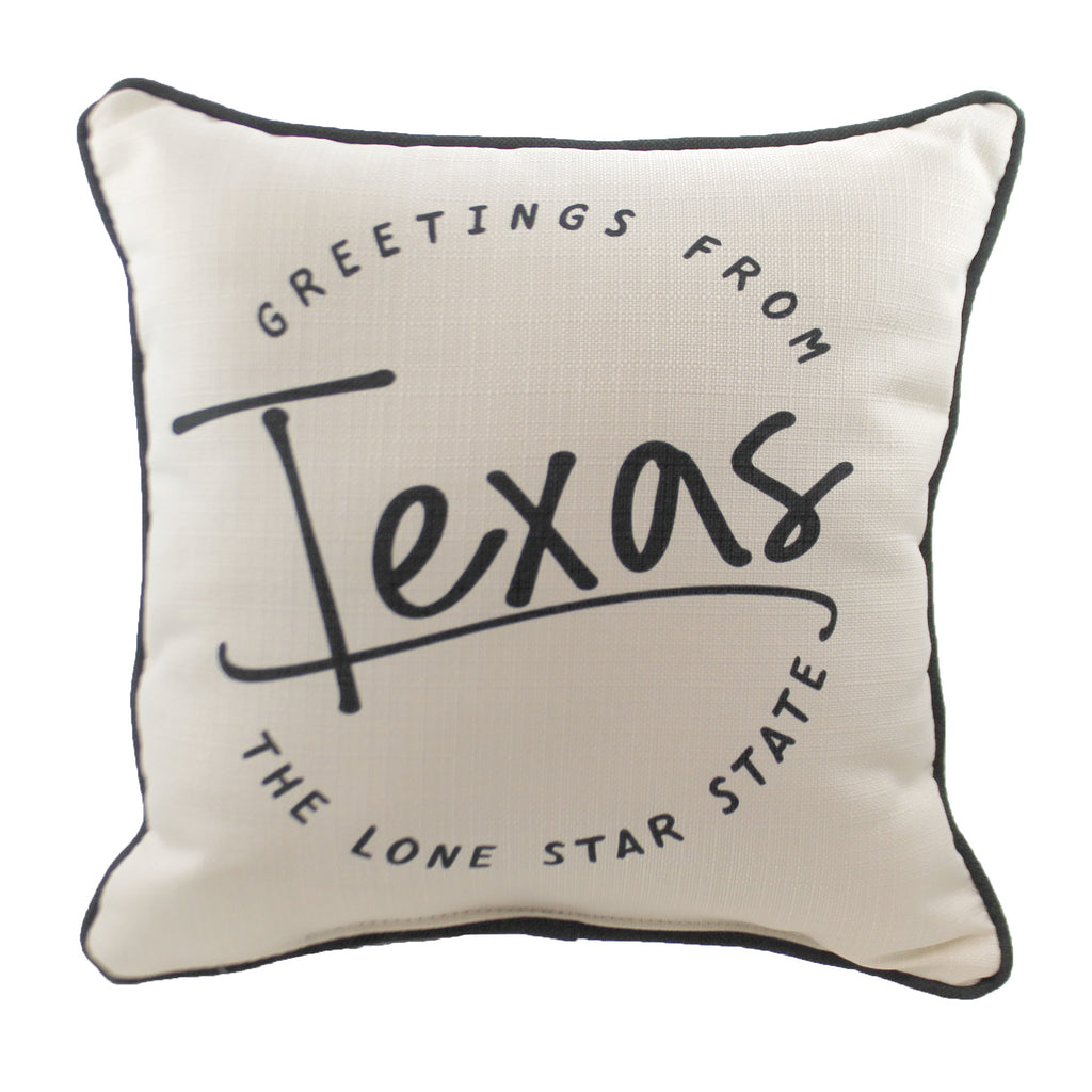 "Greetings From ""State"" Ste0054 Texas Home Decor Decorative Pillows - SBKGIFTS.COM - SBK Gifts Christmas Shop Cincinnati - Story Book Kids"