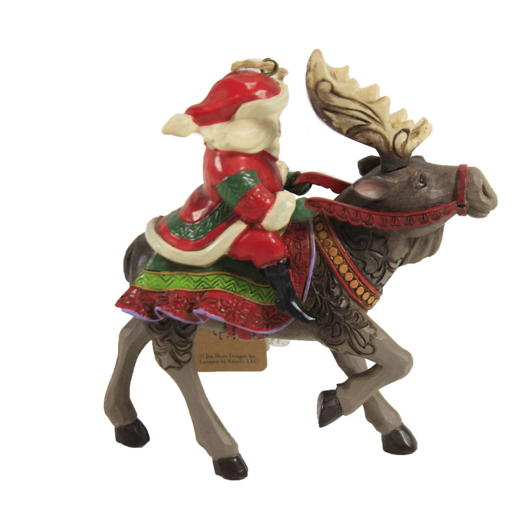 Santa Riding Moose Ornament 6006669 Jim Shore Resin Ornaments - SBKGIFTS.COM - SBK Gifts Christmas Shop Cincinnati - Story Book Kids