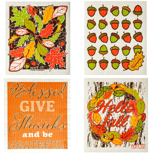 Thanksgiving Fall Set / 4 W10-31*40*41*42 Swedish Dish Cloth Household Cleaning Cloth And Tool - SBKGIFTS.COM - SBK Gifts Christmas Shop Cincinnati - Story Book Kids