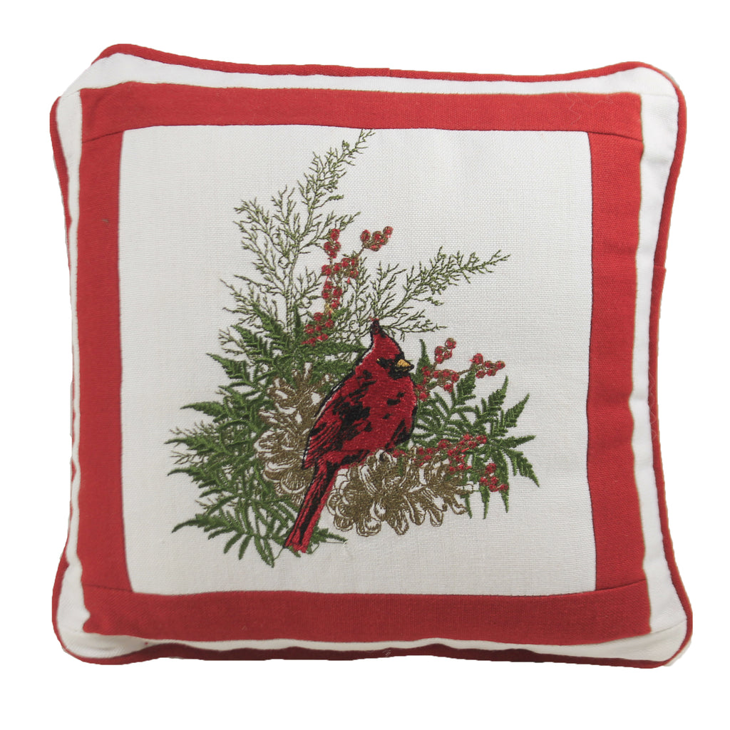 Cardinal Embroidered Pillow 994500 Home Decor Decorative Pillows - SBKGIFTS.COM - SBK Gifts Christmas Shop Cincinnati - Story Book Kids