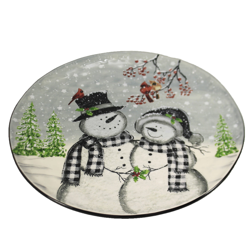 Snowman Round Serving Platter Ex27156 Tabletop Plates And Platters - SBKGIFTS.COM - SBK Gifts Christmas Shop Cincinnati - Story Book Kids