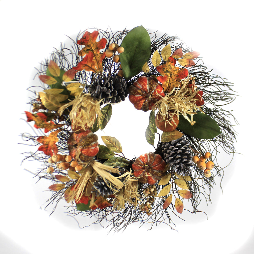 Fall Pumpkin And Pinecone Wreath Wall Door Decor Berries - VWP387