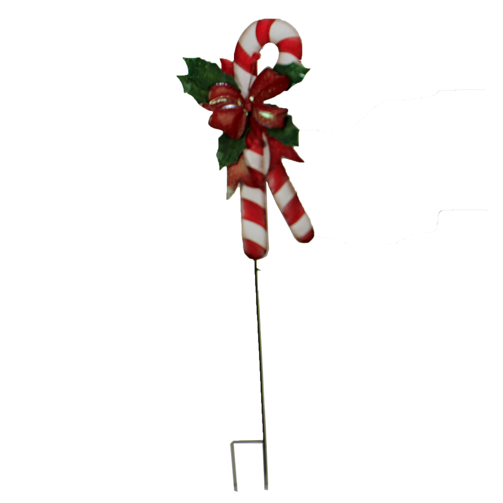 Candy Cane W/ Holly Yard Decor 31844475 Christmas Decorative Stakes And Pokes And Plant Sticks - SBKGIFTS.COM - SBK Gifts Christmas Shop Cincinnati - Story Book Kids