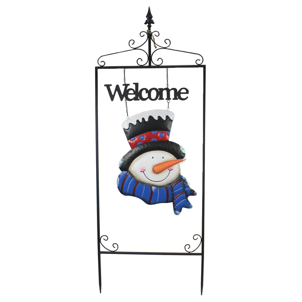 "59"" Welcome Snowman Sign Yard 31844425 Christmas Decorative Stakes And Pokes And Plant Sticks - SBKGIFTS.COM - SBK Gifts Christmas Shop Cincinnati - Story Book Kids"