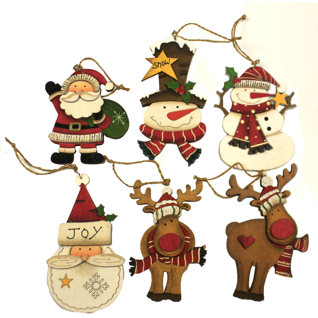 Wood Cut Out Ornaments  Set / 6 51244219 Christmas Wood Ornaments - SBKGIFTS.COM - SBK Gifts Christmas Shop Cincinnati - Story Book Kids