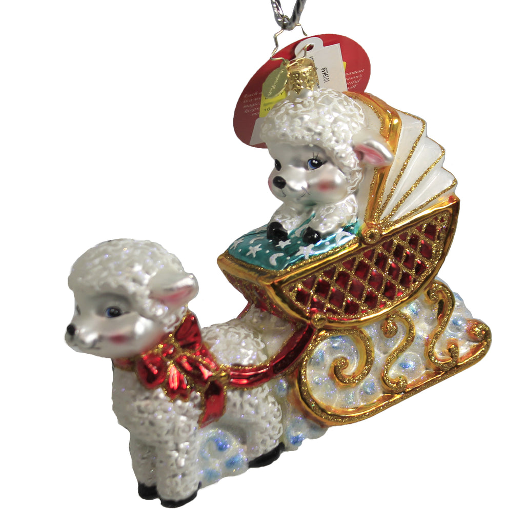 Baby Lamb Sleigh Ride 1019659 Christopher Radko Glass Ornaments - SBKGIFTS.COM - SBK Gifts Christmas Shop Cincinnati - Story Book Kids