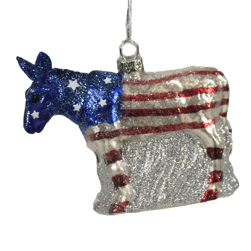 Political Party Mascot Go680304 Donkey Holiday Ornament Glass Ornaments - SBKGIFTS.COM - SBK Gifts Christmas Shop Cincinnati - Story Book Kids