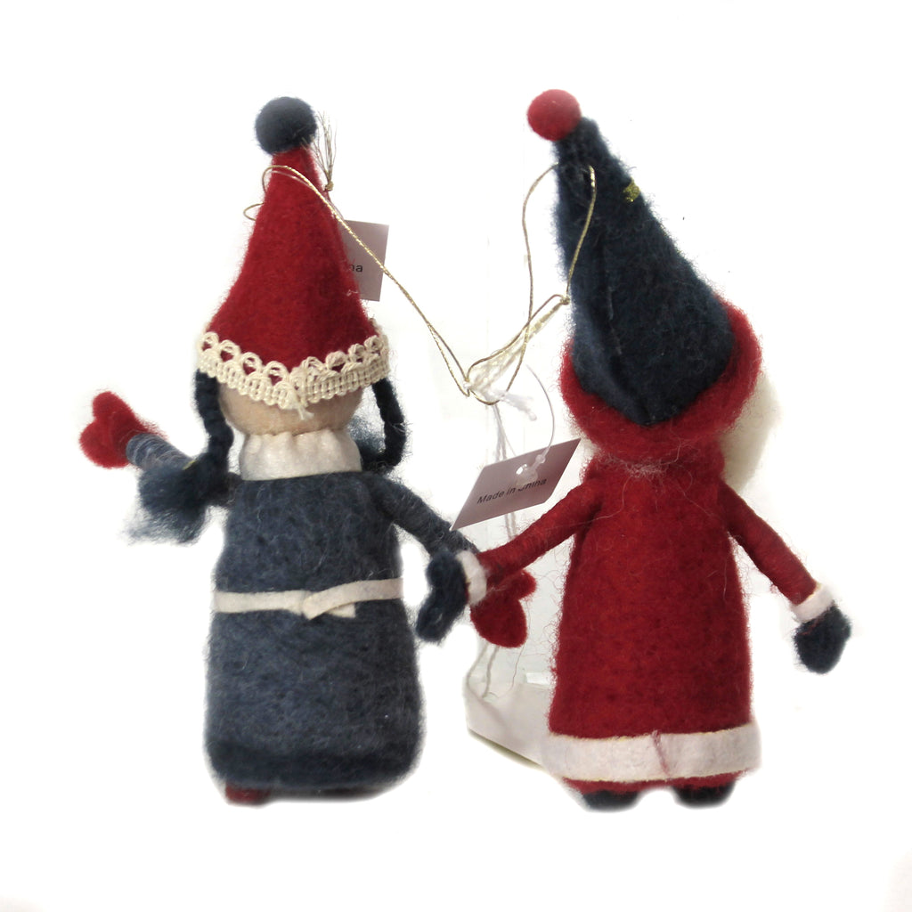 Felt Santa & Mrs Claus Set / 2 Wo2366 Holiday Ornament Plush Ornaments - SBKGIFTS.COM - SBK Gifts Christmas Shop Cincinnati - Story Book Kids