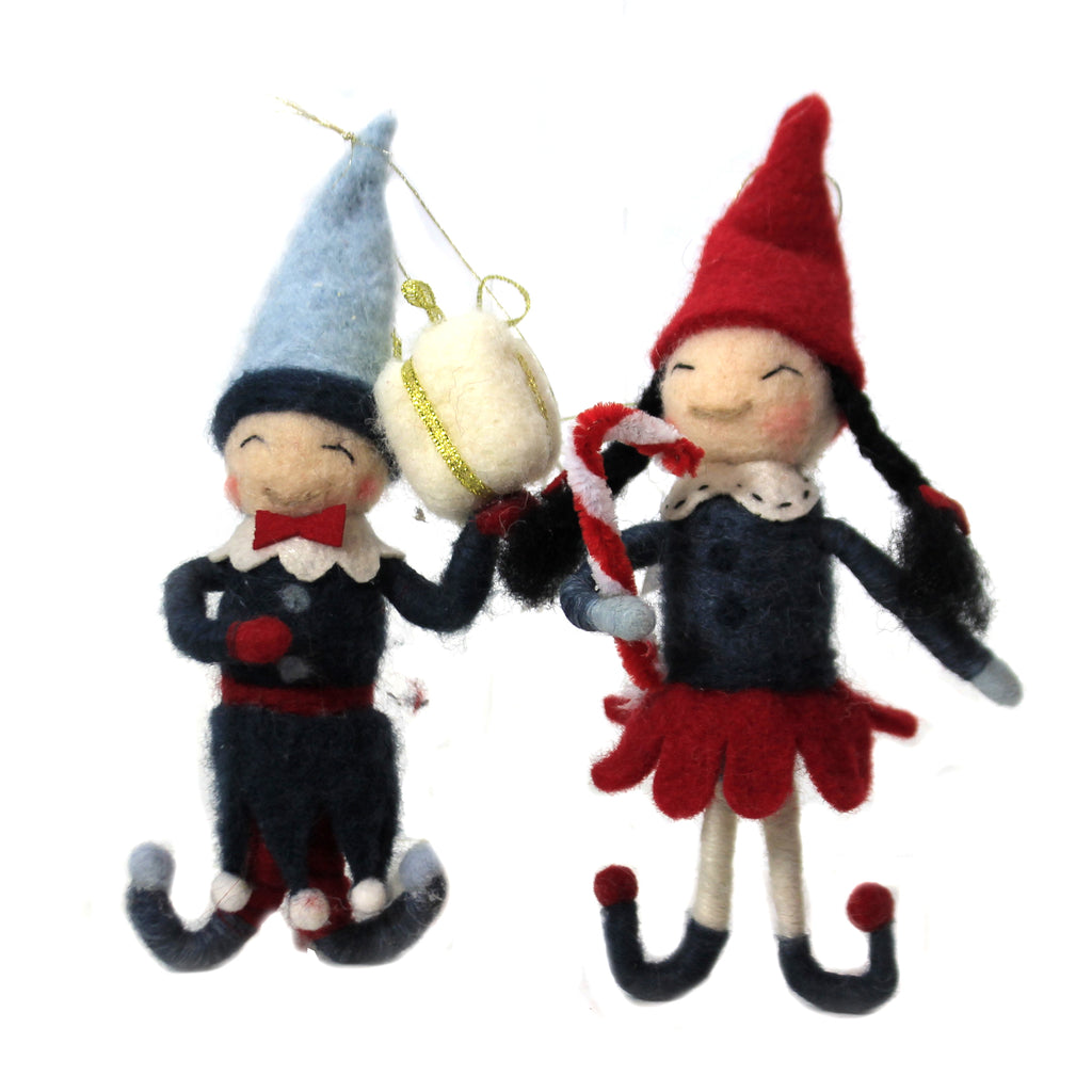 Felt Elves Set / 2 Wo2367 Holiday Ornament Plush Ornaments - SBKGIFTS.COM - SBK Gifts Christmas Shop Cincinnati - Story Book Kids