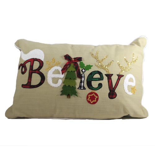 Believe Christmas Pillow 9161 Home Decor Decorative Pillows - SBKGIFTS.COM - SBK Gifts Christmas Shop Cincinnati - Story Book Kids