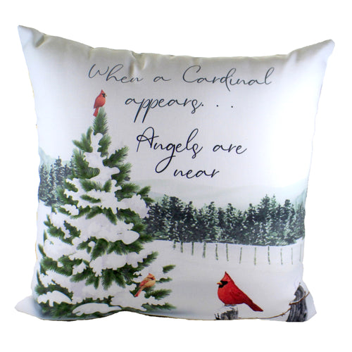 When A Cardinal Appears Pillow Slwaca Home Decor Decorative Pillows - SBKGIFTS.COM - SBK Gifts Christmas Shop Cincinnati - Story Book Kids