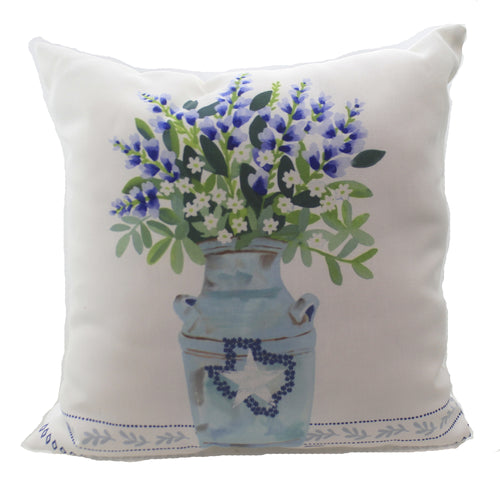 Bluebonnets In Vase Pillow Slbivp Home Decor Decorative Pillows - SBKGIFTS.COM - SBK Gifts Christmas Shop Cincinnati - Story Book Kids