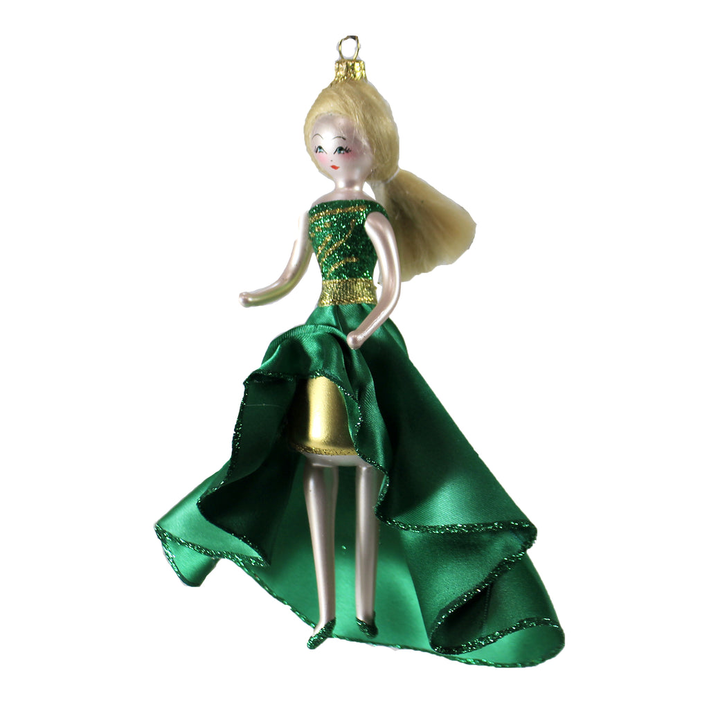 Lady In Green Gold Hi Low Dress Do7437m De Carlini Glass Ornaments - SBKGIFTS.COM - SBK Gifts Christmas Shop Cincinnati - Story Book Kids