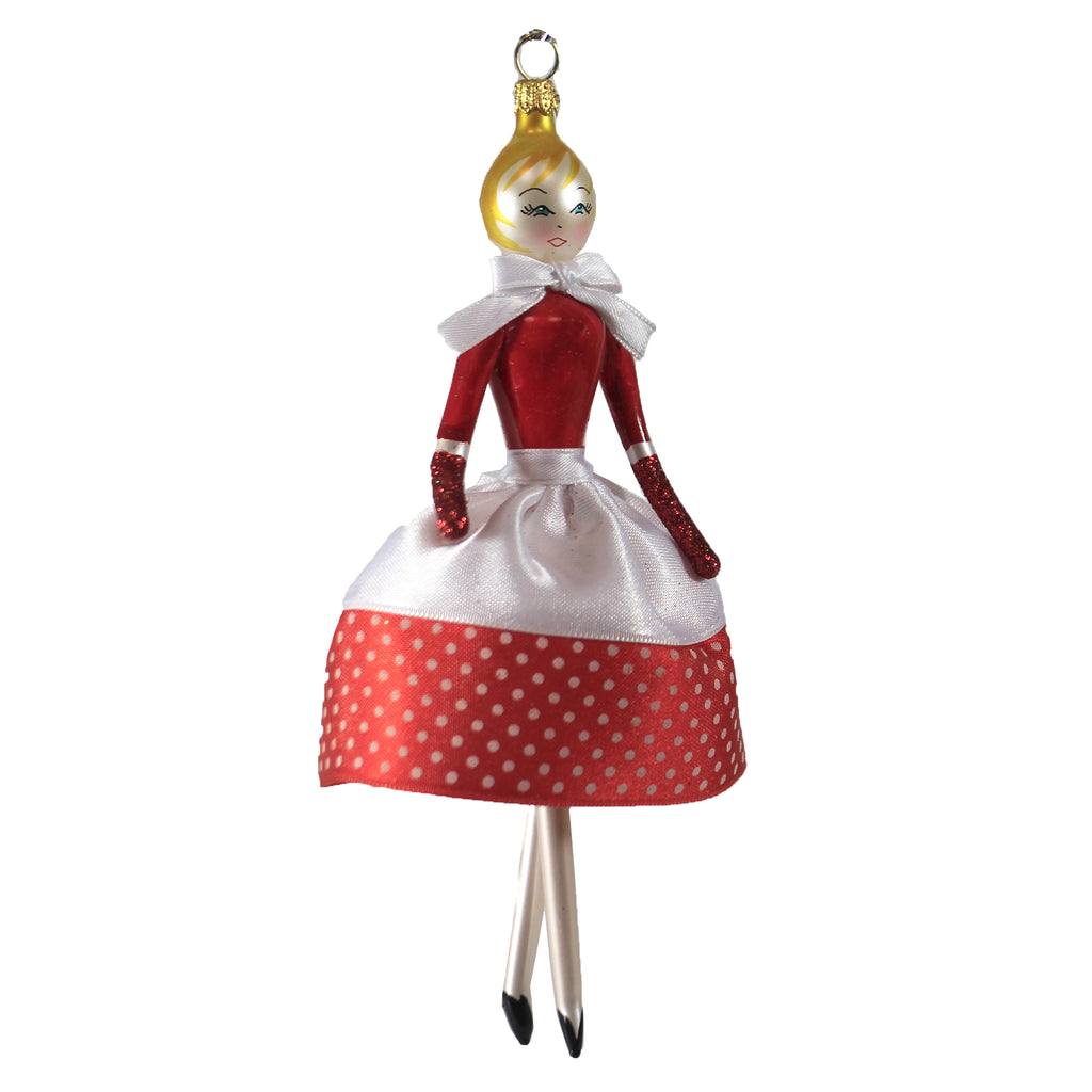 Retro Lady White Red Polka Dot Do7456 De Carlini Glass Ornaments - SBKGIFTS.COM - SBK Gifts Christmas Shop Cincinnati - Story Book Kids