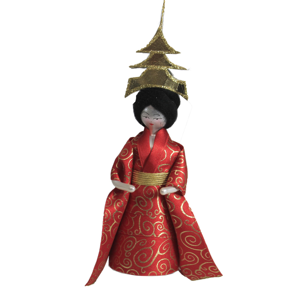 Lady With Pogoda Hat Do7107m De Carlini Glass Ornaments - SBKGIFTS.COM - SBK Gifts Christmas Shop Cincinnati - Story Book Kids