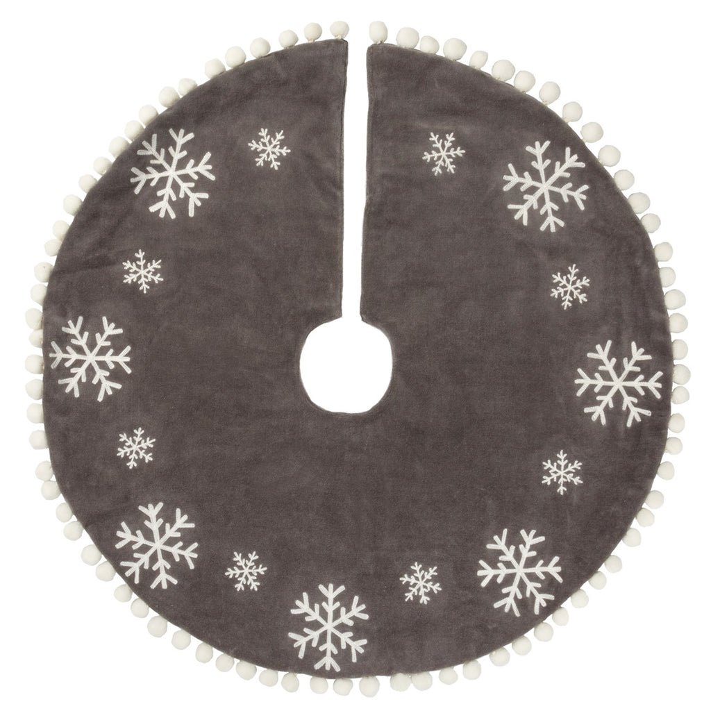 Grey Snowflake Tree Skirt 39648 Christmas Tree Skirts - SBKGIFTS.COM - SBK Gifts Christmas Shop Cincinnati - Story Book Kids