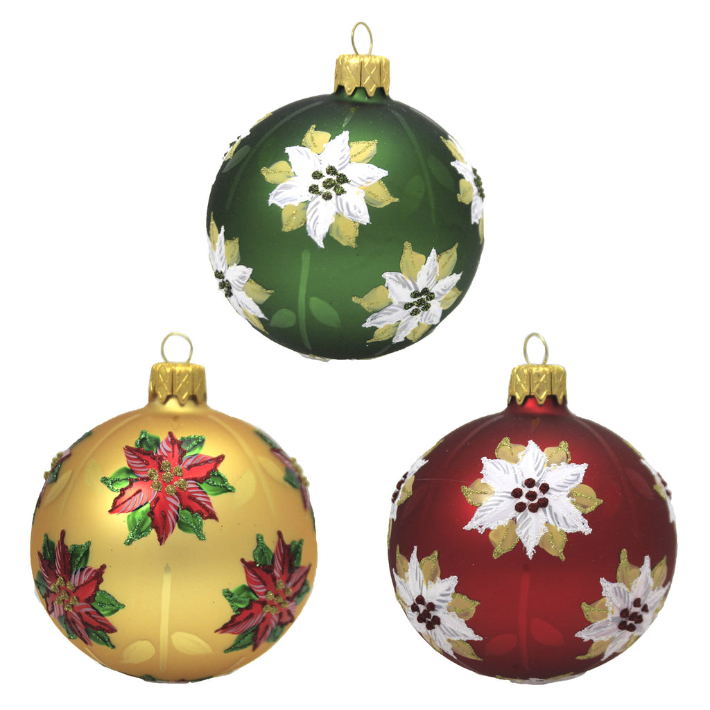 Christmas Poinsettia Gold S/3 20M1030 Santa Land Ornament Sets - SBKGIFTS.COM - SBK Gifts Christmas Shop Cincinnati - Story Book Kids