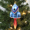 Blue Space Ship With Flame 19003 Mor Morawski Glass Ornaments - SBKGIFTS.COM - SBK Gifts Christmas Shop Cincinnati - Story Book Kids