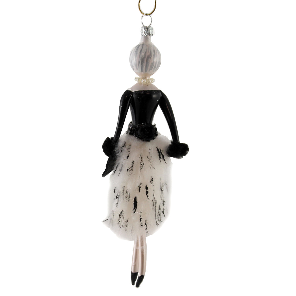 Lela With White Fur Skirt Do7596 De Carlini Glass Ornaments - SBKGIFTS.COM - SBK Gifts Christmas Shop Cincinnati - Story Book Kids