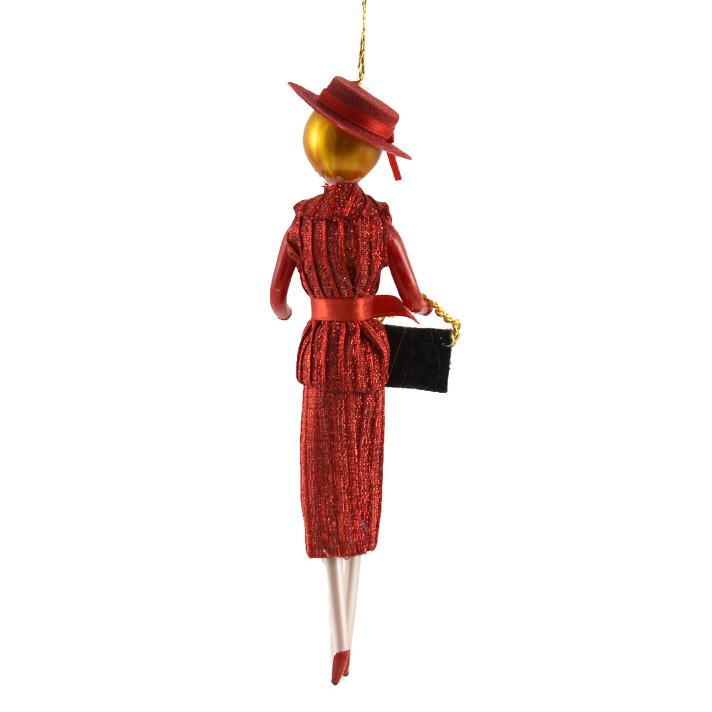 Abigail In Red Suit & Hat Do7508 De Carlini Glass Ornaments - SBKGIFTS.COM - SBK Gifts Christmas Shop Cincinnati - Story Book Kids