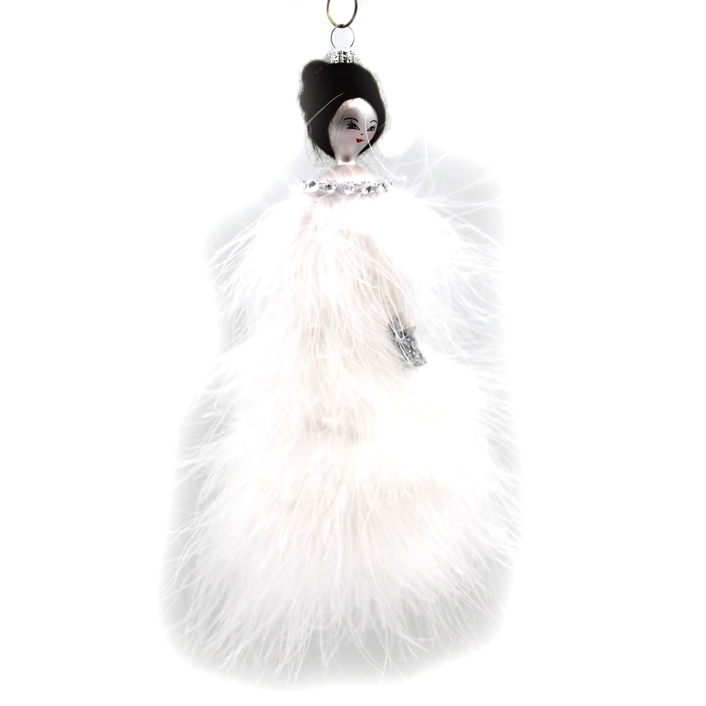 Olivia In White Feather Dress Do7662 De Carlini Glass Ornaments - SBKGIFTS.COM - SBK Gifts Christmas Shop Cincinnati - Story Book Kids