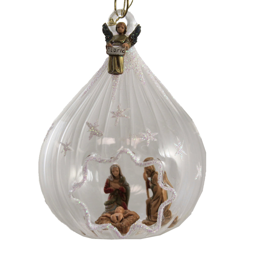 Scalloped Dome W/ Nativity Na1378 De Carlini Glass Ornaments - SBKGIFTS.COM - SBK Gifts Christmas Shop Cincinnati - Story Book Kids