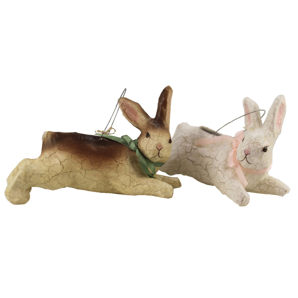 Leaping Bunny Bucket Set/2 Tg1368 Easter Figurines - SBKGIFTS.COM - SBK Gifts Christmas Shop Cincinnati - Story Book Kids