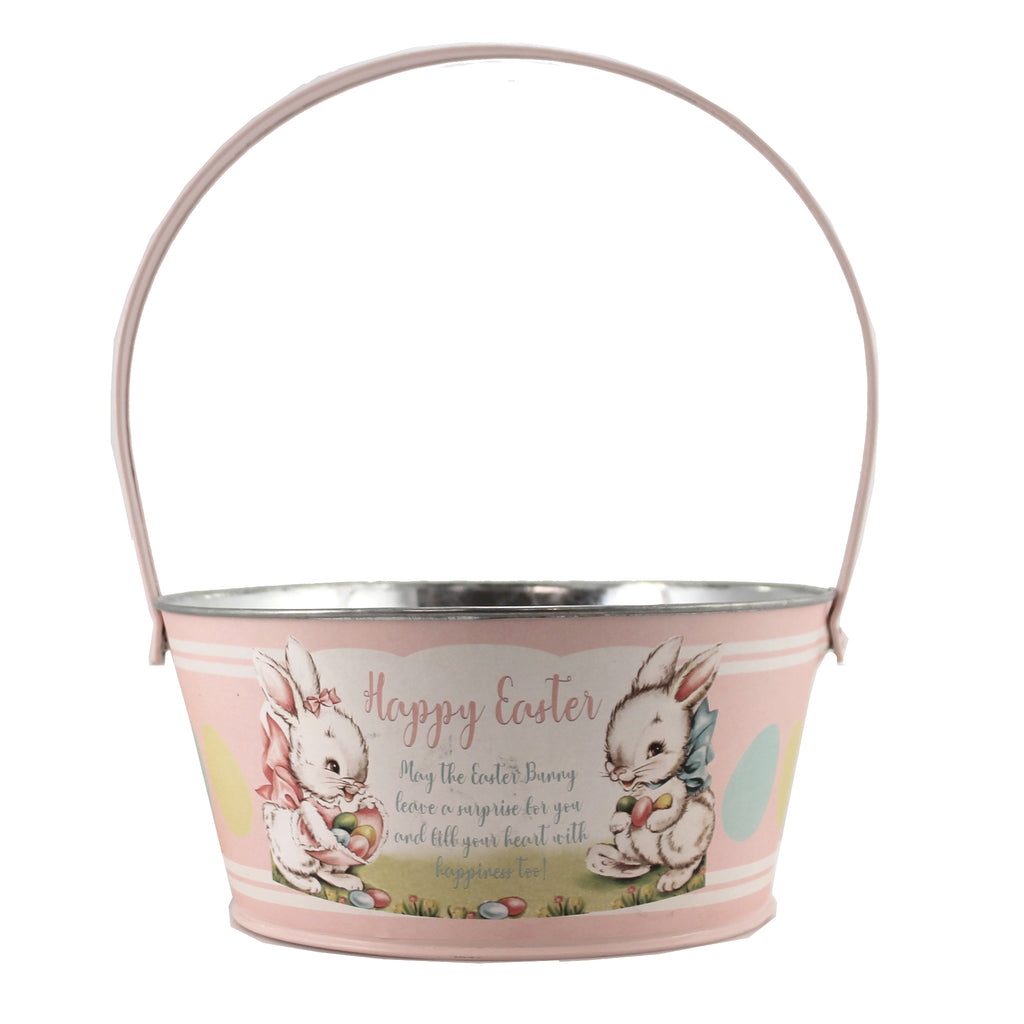 Tin Pink Easter Bucket Tf0116p Easter Home Decor - SBKGIFTS.COM - SBK Gifts Christmas Shop Cincinnati - Story Book Kids