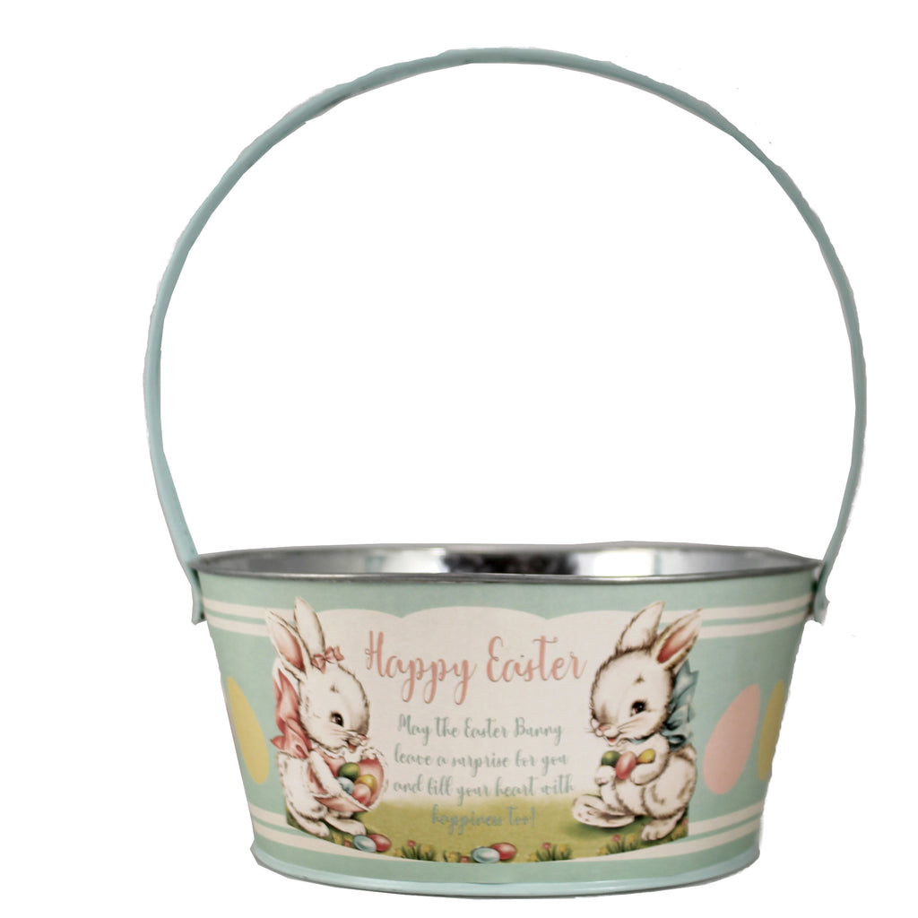 Tin Aqua Easter Bucket Tf0116a Easter Home Decor - SBKGIFTS.COM - SBK Gifts Christmas Shop Cincinnati - Story Book Kids