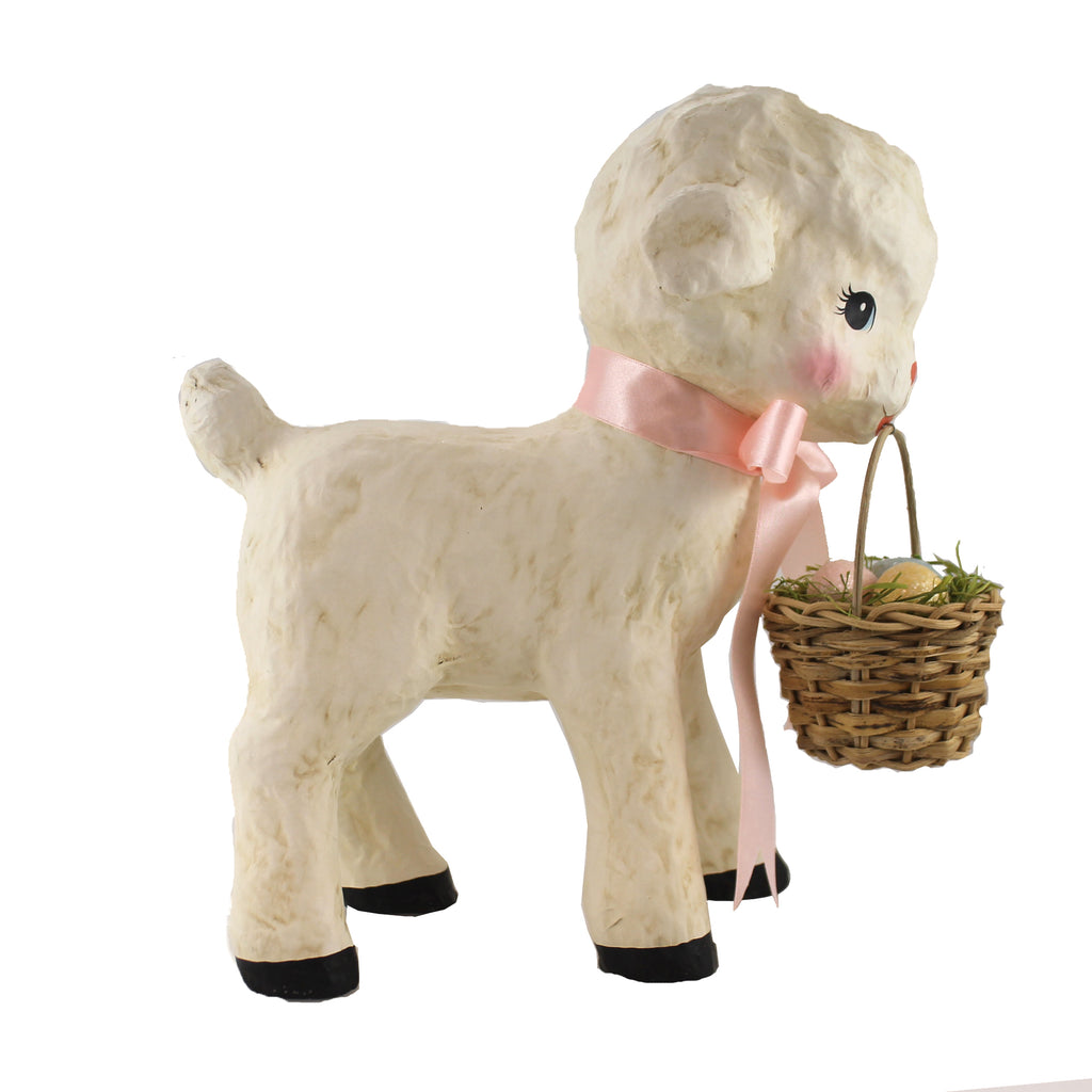 Spring Lamb With Basket Tj0176 Easter Figurines - SBKGIFTS.COM - SBK Gifts Christmas Shop Cincinnati - Story Book Kids