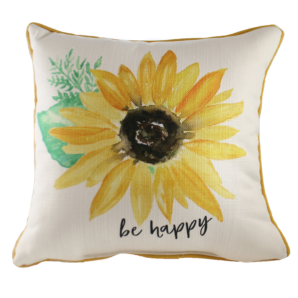 Be Happy Sunflower Pillow Txt0171 Home Decor Decorative Pillows - SBKGIFTS.COM - SBK Gifts Christmas Shop Cincinnati - Story Book Kids