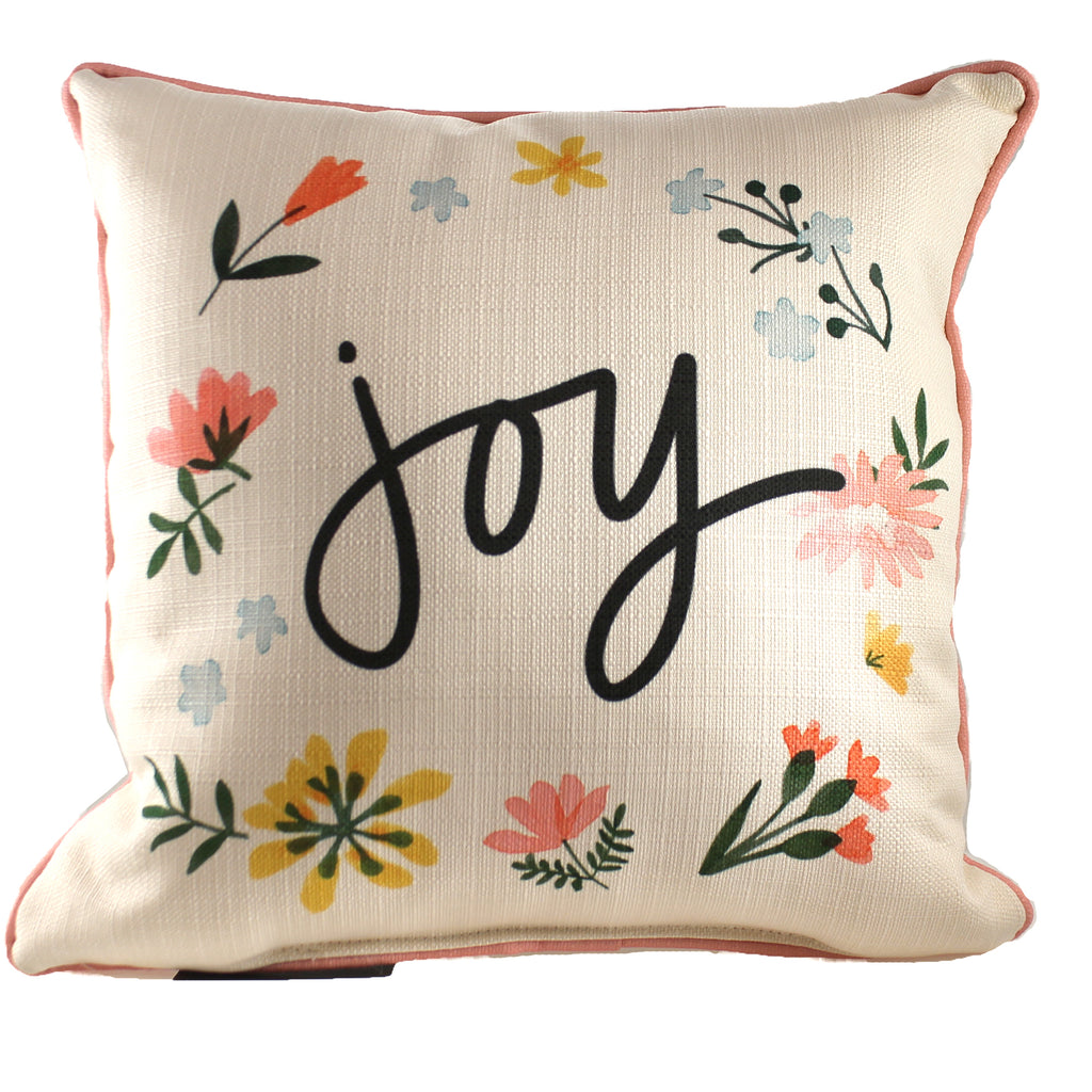 Joy Wildflower  Pillow Txt0560 Home Decor Decorative Pillows - SBKGIFTS.COM - SBK Gifts Christmas Shop Cincinnati - Story Book Kids