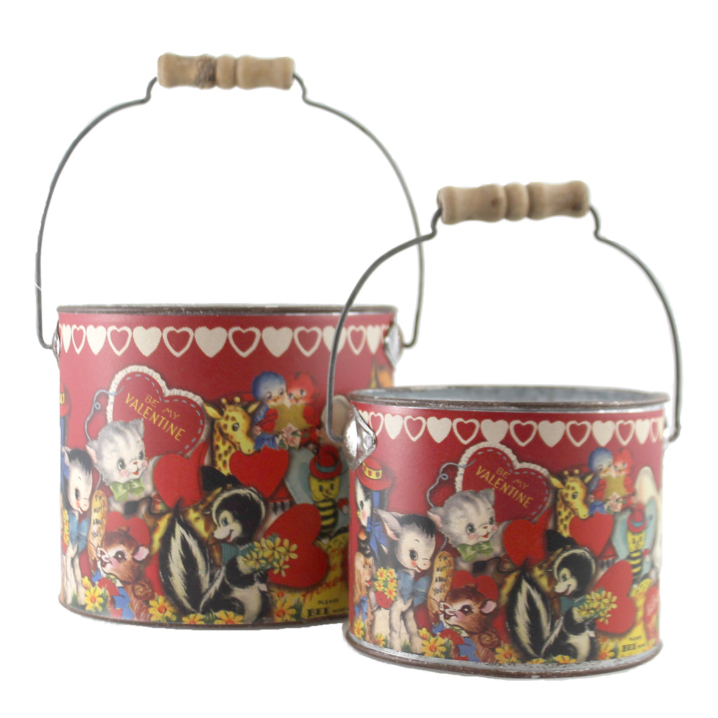 Vintage Valentine Buckets Set/2 108706 Valentine's Day Nesting Boxes And Storage Boxes - SBKGIFTS.COM - SBK Gifts Christmas Shop Cincinnati - Story Book Kids