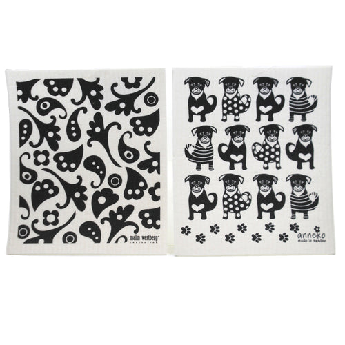 Black Dogs Black Flowers Dish 8043550 Swedish Dish Cloth Household Cleaning Cloth And Tool - SBKGIFTS.COM - SBK Gifts Christmas Shop Cincinnati - Story Book Kids