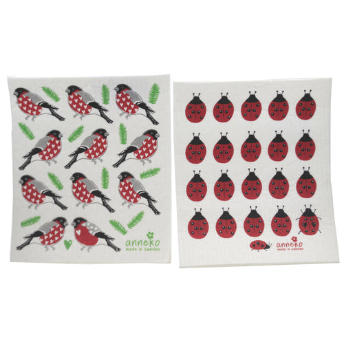 Ladybugs And Robins Dish Cloths 8042227 Swedish Dish Cloth Household Cleaning Cloth And Tool - SBKGIFTS.COM - SBK Gifts Christmas Shop Cincinnati - Story Book Kids