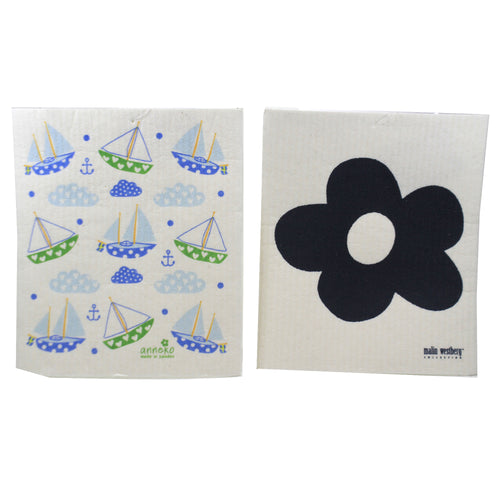 Sailboats & Dark Blue Flower 8040535 Swedish Dish Cloth Household Cleaning Cloth And Tool - SBKGIFTS.COM - SBK Gifts Christmas Shop Cincinnati - Story Book Kids