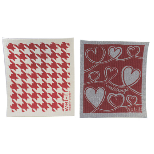 Heartstrings & Hounstooth Red W1051*1503 Swedish Dish Cloth Household Cleaning Cloth And Tool - SBKGIFTS.COM - SBK Gifts Christmas Shop Cincinnati - Story Book Kids