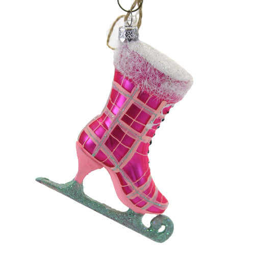 Holiday Ornament Plaid Ice Skate Glas Skating Olympics Blade