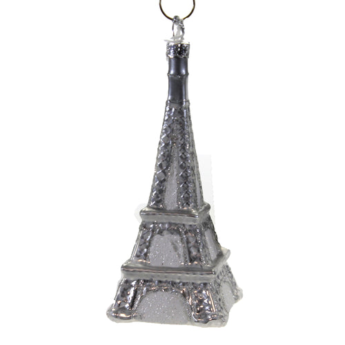 Silver Eiffel Tower . Go6885s Holiday Ornament Glass Ornaments - SBKGIFTS.COM - SBK Gifts Christmas Shop Cincinnati - Story Book Kids