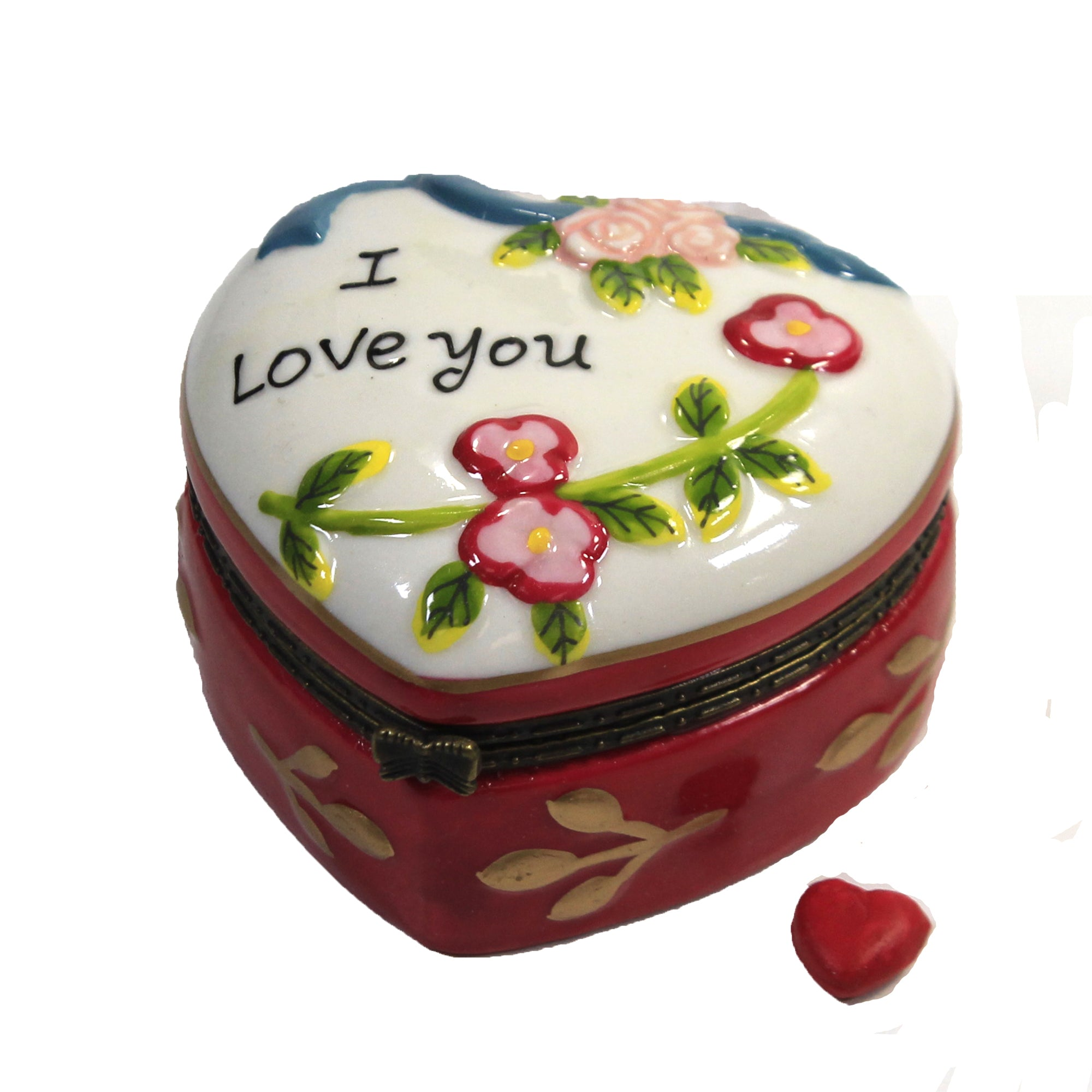 Vintage Festive Heart Decorated Covered Storage Container Valentine Decoration Holiday Gift Hinged Trinket Box