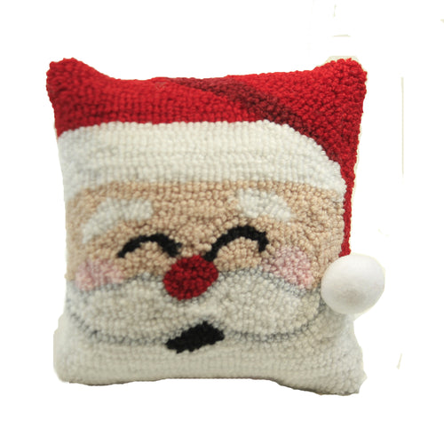 Happy Santa Hooked Pillow 44488002 Christmas Decorative Pillows - SBKGIFTS.COM - SBK Gifts Christmas Shop Cincinnati - Story Book Kids