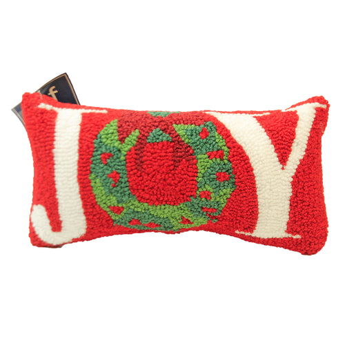 Joy Wreath Hooked Pillow 44461001 Christmas Decorative Pillows - SBKGIFTS.COM - SBK Gifts Christmas Shop Cincinnati - Story Book Kids